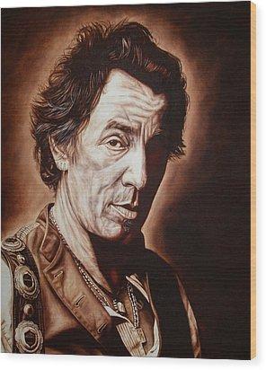 Bruce Springsteen Wood Print by Mark Baker