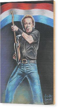 Wood Print featuring the painting Bruce Springsteen  by Melinda Saminski
