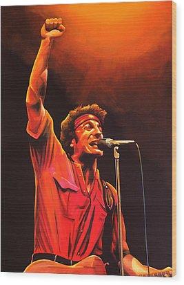 Bruce Springsteen Painting Wood Print by Paul Meijering