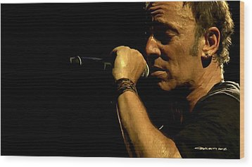 Bruce Springsteen Performing The River At Glastonbury In 2009 - 3 Wood Print