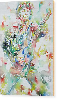 Bruce Springsteen Playing The Guitar Watercolor Portrait Wood Print by Fabrizio Cassetta