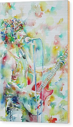 Bruce Springsteen Playing The Guitar Watercolor Portrait.1 Wood Print by Fabrizio Cassetta