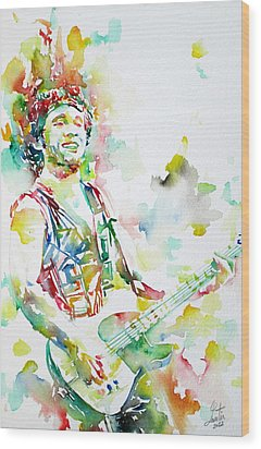 Bruce Springsteen Playing The Guitar Watercolor Portrait.2 Wood Print by Fabrizio Cassetta