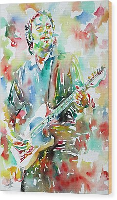 Bruce Springsteen Playing The Guitar Watercolor Portrait.3 Wood Print by Fabrizio Cassetta