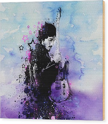 Bruce Springsteen Splats And Guitar 2 Wood Print