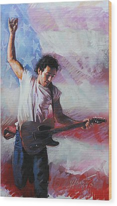 Bruce Springsteen The Boss Wood Print by Viola El