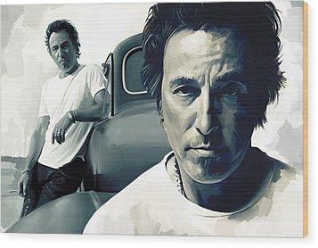 Bruce Springsteen The Boss Artwork 1 Wood Print by Sheraz A