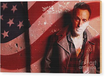 Bruce Springsteen Today And Yesteryear Wood Print