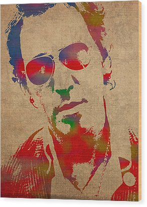 Bruce Springsteen Watercolor Portrait On Worn Distressed Canvas Wood Print