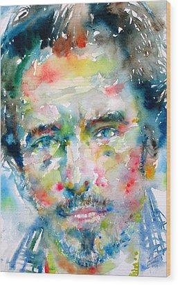 Bruce Springsteen Watercolor Portrait.1 Wood Print by Fabrizio Cassetta