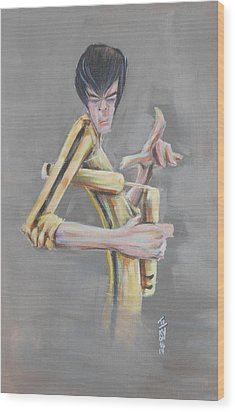 Wood Print featuring the painting Bruce  by Tu-Kwon Thomas