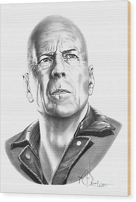 Bruce Willis Wood Print by Murphy Elliott