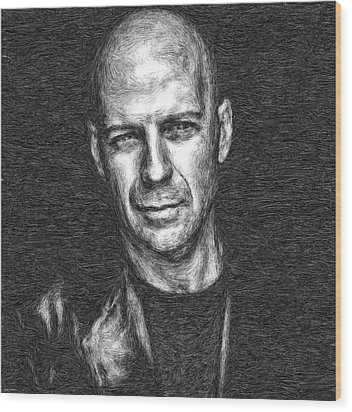 Bruce Willis Wood Print by Tyler Robbins