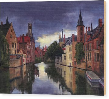 Bruges Belgium Canal Wood Print by Janet King