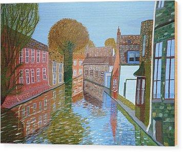 Brugge Canal Wood Print