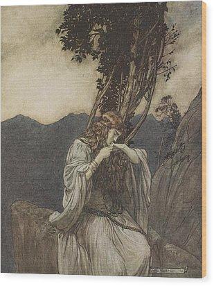 Brunnhilde Kisses The Ring That Siegfried Has Left With Her Wood Print by Arthur Rackham