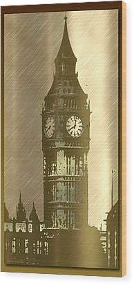 Brush Tone Big Ben Wood Print by Debra     Vatalaro