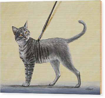 Brushing The Cat - No. 2 Wood Print by Crista Forest
