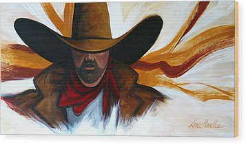 Wood Print featuring the painting Brushstroke Cowboy #4 by Lance Headlee