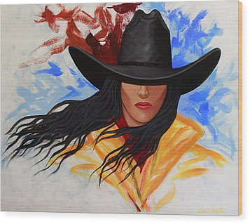 Brushstroke Cowgirl #3 Wood Print by Lance Headlee