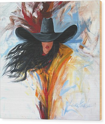 Brushstroke Cowgirl Wood Print by Lance Headlee