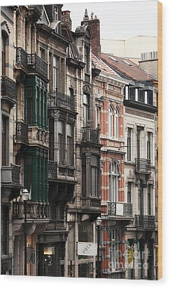 Brussels Architecture Wood Print by John Rizzuto