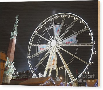Wood Print featuring the photograph Brussels Christmas Market by Deborah Smolinske