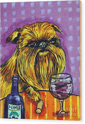 Brussels Griffon At The Wine Bar Wood Print by Jay  Schmetz