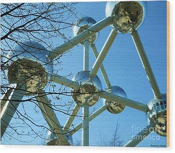 Brussels Urban Blue Wood Print by Ramona Matei