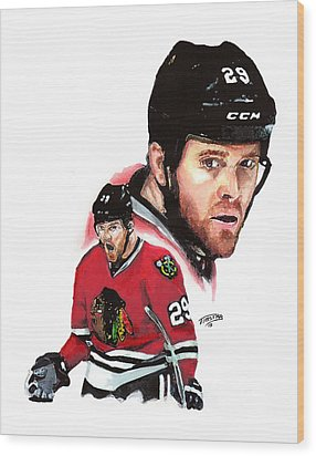 Bryan Bickell Wood Print by Jerry Tibstra