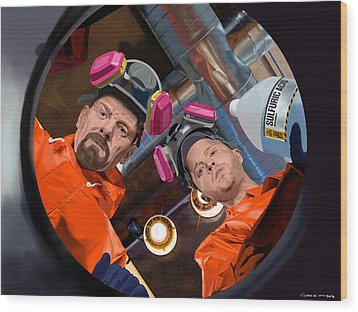 Bryan Cranston As Walter White And Aaron Paul As Jesse Pinkman @ Tv Serie Breaking Bad Wood Print