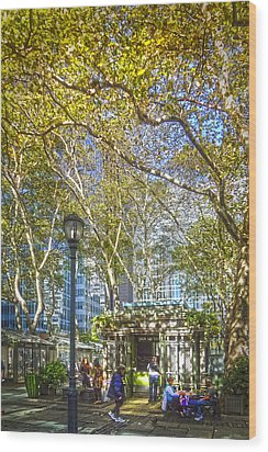Bryant Park Afternoon Wood Print by Richard Trahan