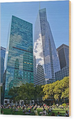 Bryant Park And Architecture Wood Print by Dawn Williams