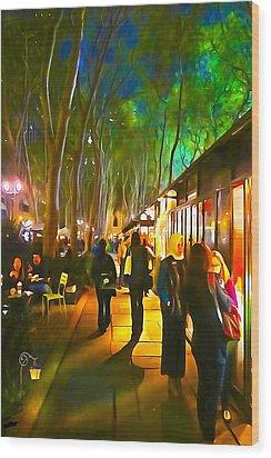 Bryant Park Evening Wood Print by Richard Trahan
