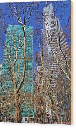 Bryant Park Wood Print by Mariola Bitner