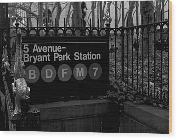 Bryant Park Station Wood Print by Mike Horvath
