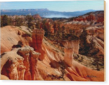 Bryce Canyon Cliff Wood Print by Marti Green