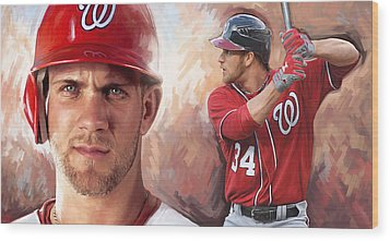Wood Print featuring the painting Bryce Harper Artwork by Sheraz A