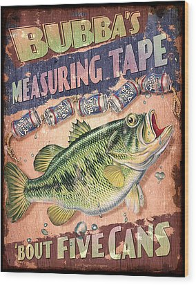 Bubba Measuring Tape Wood Print by JQ Licensing