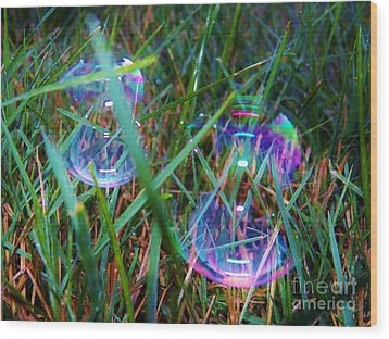 Bubble Illusions 1 Wood Print by Judy Via-Wolff