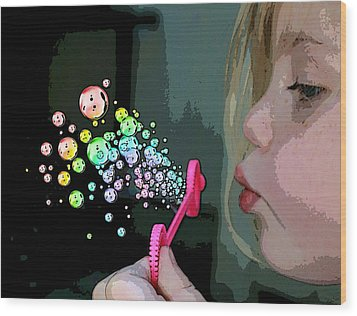 Bubble Magic Wood Print by Ellen Henneke