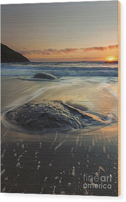 Bubbles On The Sand Wood Print by Mike  Dawson