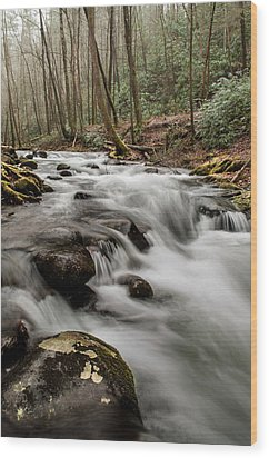 Bubbling Mountain Stream Wood Print by Debbie Green