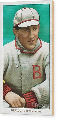 Buck Herzog Boston Braves Baseball Card 0500 Wood Print by Wingsdomain Art and Photography