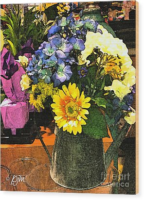 Wood Print featuring the photograph Bucket Of Flowers by Phil Mancuso