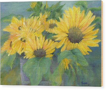 Bucket Of Sunflowers Colorful Original Painting Sunflowers Sunflower Art K. Joann Russell Artist Wood Print