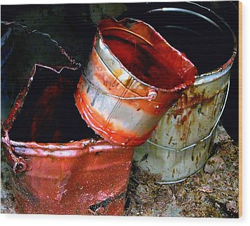 Buckets Wood Print by David Gilbert