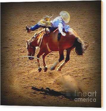 Bucking Broncos Rodeo Time Wood Print by Susan Garren