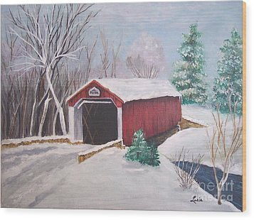 Bucks County Covered Bridge Wood Print by Lucia Grilletto