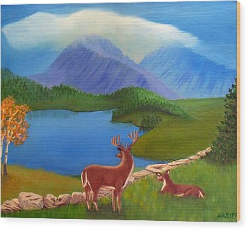Wood Print featuring the painting Buck's Domain by Sheri Keith
